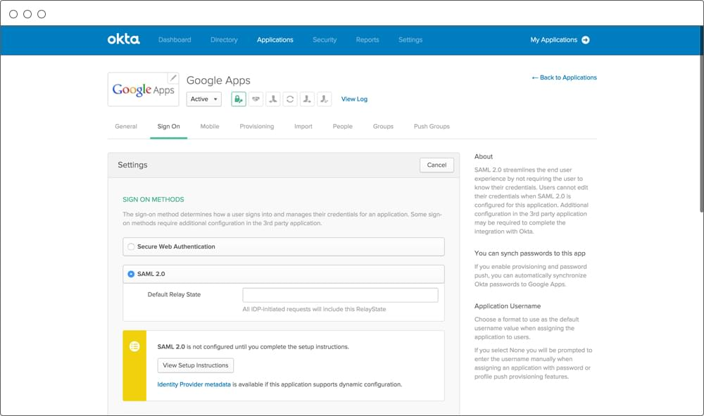okta sso screenshot