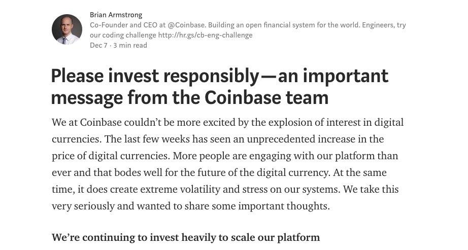 CEO Brian Amstrong của Coinbase đưa ra thông báo chính thức