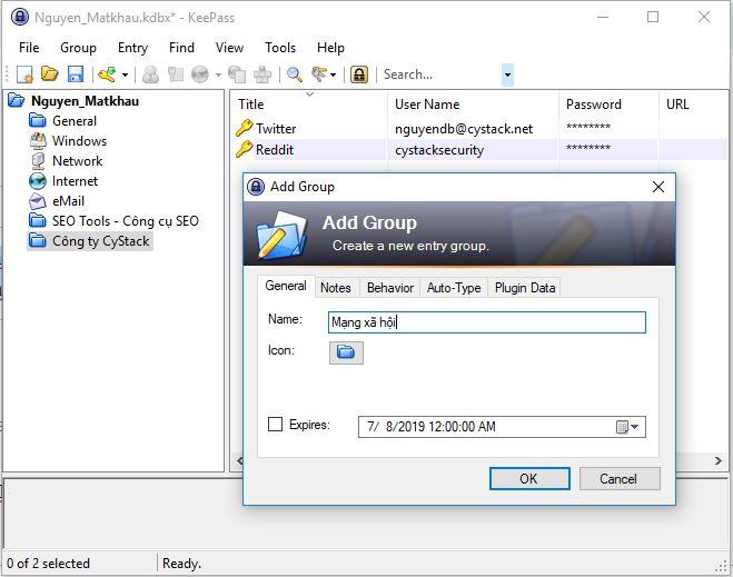 Phần mềm quản lý mật khẩu cá nhân Keepass. Ảnh: CyStack