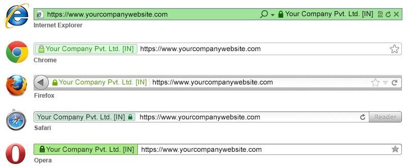 Tên công ty hiển thị trên thanh URL