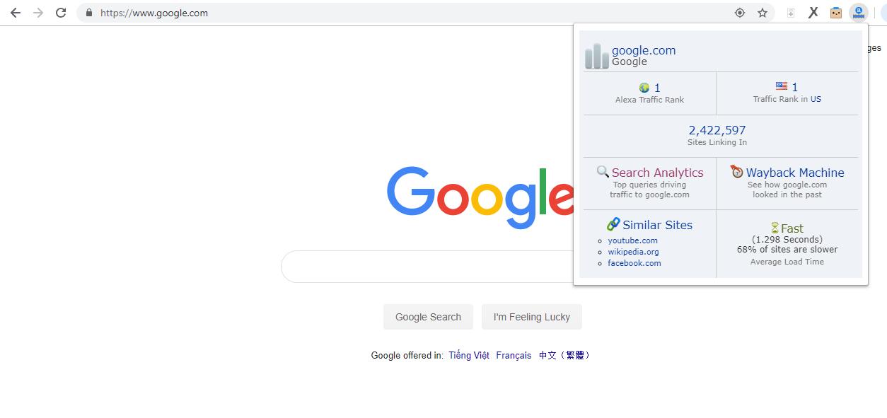 Google.com xếp hạng 1 trên Alexa ranking