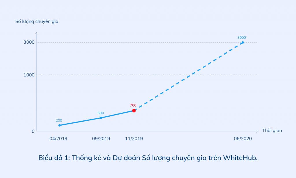 Biểu đồ thống kê và Dự kiến số lượng chuyên gia trên WhiteHub.