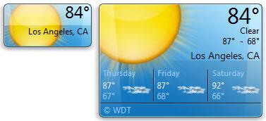 Hình ảnh 1. Tiện ích thời tiết trong Windows 7